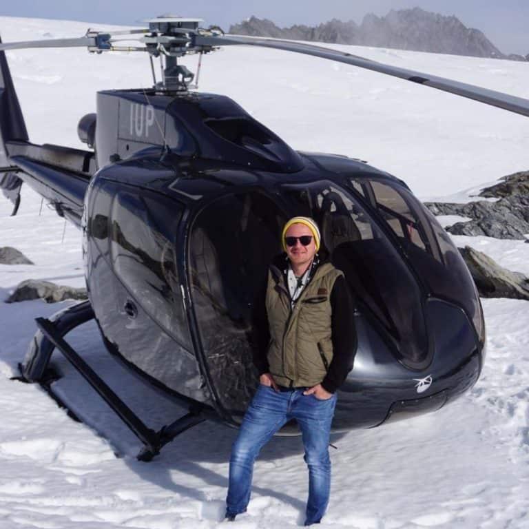 Mark at the top of a glacier